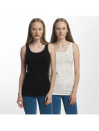 Only onlLive Love New Long Top 2 Pack Black & Cloud Dancer Dots