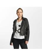 Only onlLuna Crop Faux Leather Biker Jacket Black