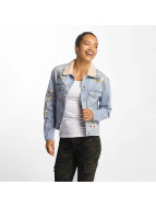 Only onlCaroline Mega Emb Denim Jacket Light Blue Denim