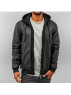 Pelle Pelle Chaqueta de cuero Mix Up Hooded negro