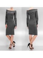 Pieces jurk Off Shoulder grijs
