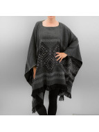Pieces Strickjacke pcPoula Poncho grau