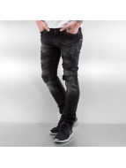 Red Bridge Skinny Jeans Ripped Leather Biker blau