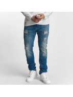 Red Bridge Straight Fit Jeans Ripped Patches blau