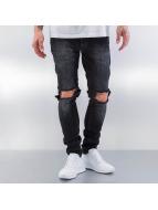 Red Bridge Straight fit jeans Destryoed Knee zwart