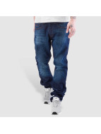 Rocawear Straight Fit Jeans Leather Patch Relaxed modrý