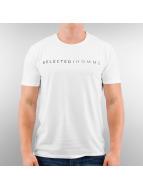 Selected T-Shirt Pima Logo blanc