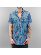 SHINE Original Hemd Palm Print blau
