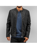 SHINE Original leren jas Imitation Leather Biker zwart