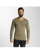SHINE Original Pullover Acid Wash Roll Edge olive