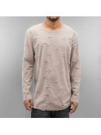 SHINE Original T-Shirt manches longues Torn Long Oversize beige