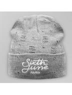 Sixth June Beanie Destroyed Logo grijs