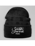 Sixth June Beanie Destroyed Logo negro