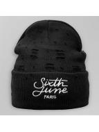 Sixth June Beanie Destroyed Logo nero