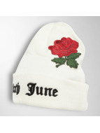 Sixth June Beanie Logo Roses Embroideries weiß