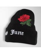 Sixth June Beanie Logo Roses Embroideries zwart