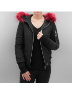 Sixth June Bera Bomber Jacket With Fake Fur Hood Black/Burgundy