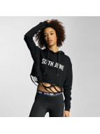 Sixth June Hoodie Destroyed Cropped black