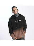 Sixth June Hoody Oversize Blach Washed Logo schwarz