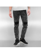 Sixth June Jean skinny Destroyed KneeCut Biker noir