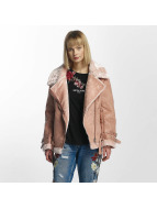 Sixth June Lederjacke Perfecto Fur rosa