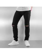 Sixth June Skinny Jeans Opened On Knee czarny