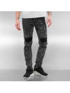 Sixth June Skinny Jeans Destroyed KneeCut Biker czarny