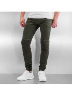 Sixth June Skinny Jeans Elastic Bottom Biker khaki