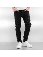 Sixth June Skinny Jeans Biker Knee Cut schwarz
