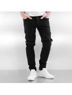 Sixth June Skinny Jeans Biker Knee Cut sort