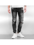 Sixth June Skinny jeans Destroyed Biker Denim zwart