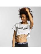 Sixth June T-Shirts Destroyed Cropped Logo beyaz