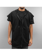 Sixth June Zip Hoodie Oversized Sleeveless schwarz