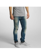 Solid Straight Fit Jeans Slim blå