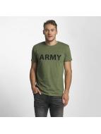 Solid t-shirt Kealan olijfgroen