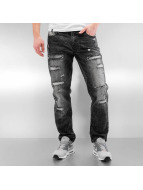 Southpole Straight fit jeans Ripped Slim zwart