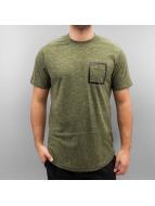 Southpole T-Shirts Slub Scallop zeytin yeşili