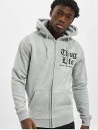 Thug Life Basic Zip Hoodie Chest Cities grau