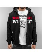 Thug Life Zip Hoodie Est 187 black