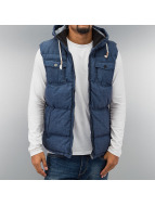 Urban Classics Bodywarmer Chambray Lined Melange Bubble blauw