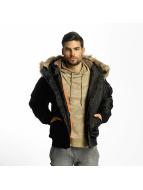 Urban Classics Bomberjack Hooded Heavy Fake Fur Bomber zwart