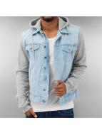 Urban Classics Bundy na přechodné roční období Hooded Denim Fleece modrý