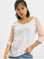 Urban Classics Camiseta de manga larga Ladies 3/4 Contrast Raglan blanco