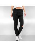 Urban Classics Dżinsy straight fit Ladies Cut Knee czarny