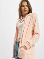 Urban Classics Hoodies con zip Ladies Velvet rosa chiaro