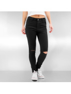 Urban Classics Jeans Straight Fit Ladies Cut Knee noir