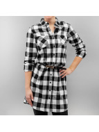 Urban Classics jurk Ladies Checked Flanell Shirt zwart
