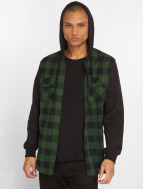 Urban Classics overhemd Hooded Checked Flanell zwart