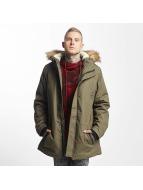 Urban Classics Parka Heavy Cotton Imitation Fur olijfgroen