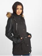 Urban Classics Parka Leather Imitation zwart